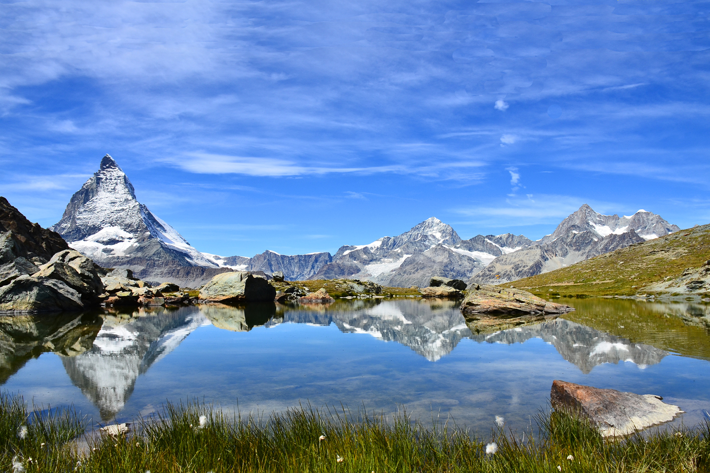The Matterhorn reflects in the Riffelsee near the Gornergrat