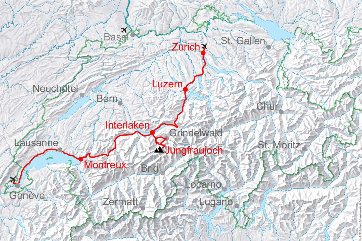 GoldenPass Line route. The tour can start at any Swiss airport.