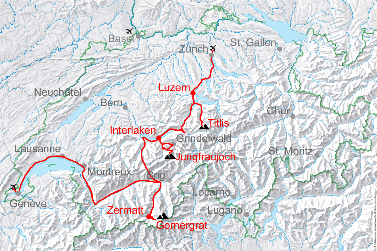 Highlights of Switzerland route. The tour can start at any Swiss airport.