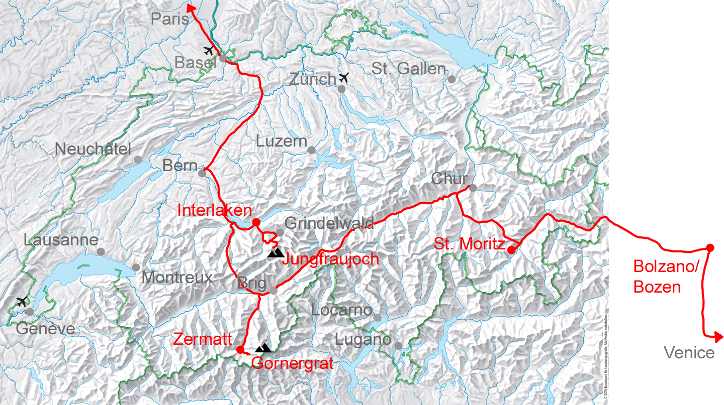 Venice to Paris via Zermatt route. The tour can be done in both directions.